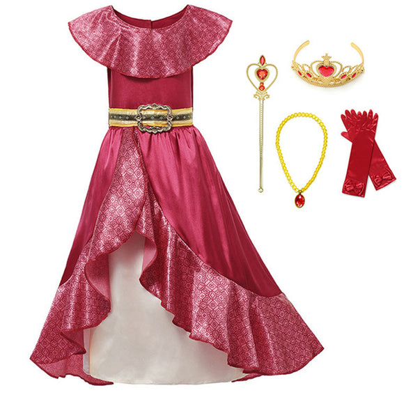 Girl Classic Princess Red Cosplay Elena of Avalor Adventure Halloween Ball Gown Outfits