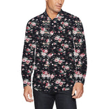 Sale Sale Sale!!! Mens Shirts Flower Printed Black Blouse Shirts