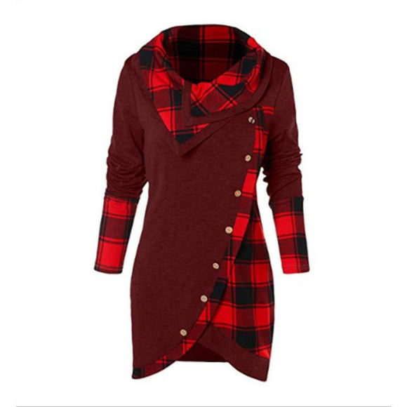 Women Tartan Tunic Sweatshirt female Pullover Tops