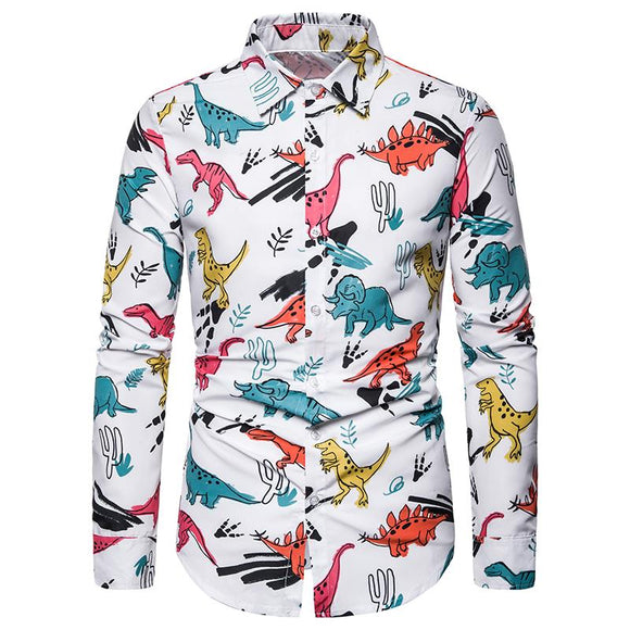 Mens Shirts Christmas Dinosa Printed Blouse