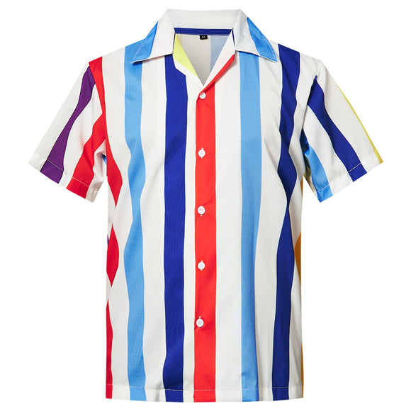 Men's Hawaiian Shirt Red White Blue Stripes Printing