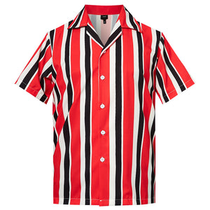 Men's Hawaiian Shirt Red Black Stripes Printing