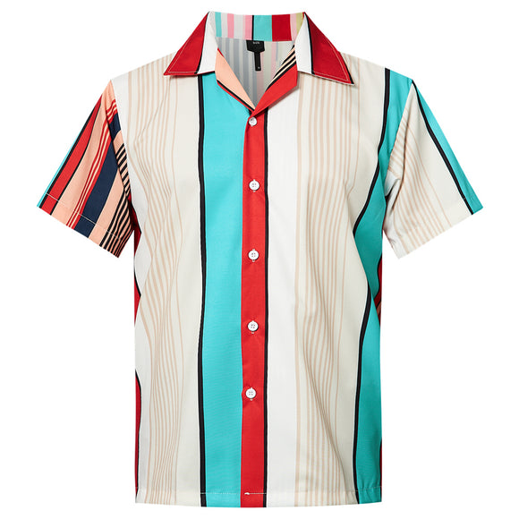 Men's Hawaiian Shirt Stripes Printing