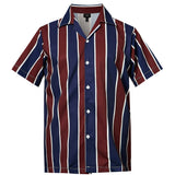 Men's Hawaiian Black Brown Stripes Printing