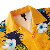 Men's Hawaiian Yellow Shirts Floral Printing