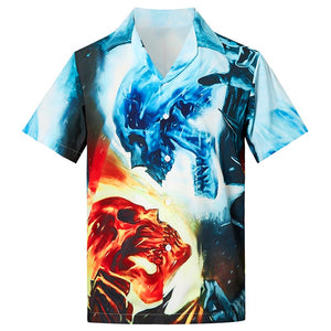Men's Hawaiian Shirts Ugly Skull Printed