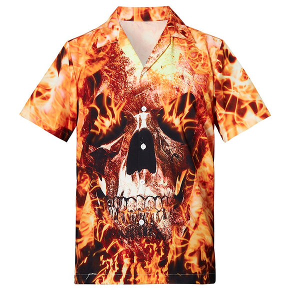 Men's Hawaiian Shirts Fire Skull Printed