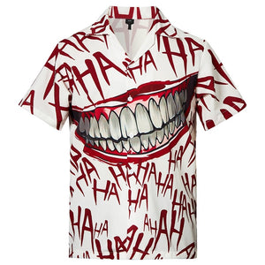 Men's Hawaiian Shirts Haha Joker Smile Laugh Printed