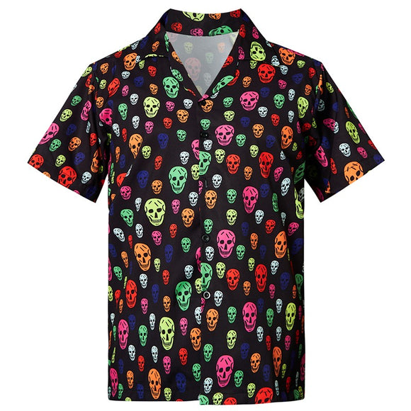 Men's Hawaiian Shirts Colorful Skull Printed