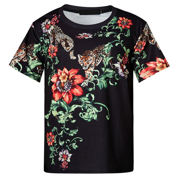 Mens T Shirt Tiger Flowers Printing Pattern Tee