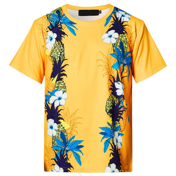 Mens T Shirt Hungry Floral Printing Pattern Yellow Tee