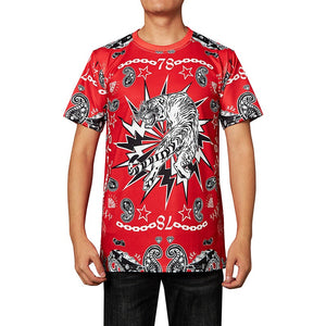 Mens T Shirt Tiger Printing Pattern Red Tee