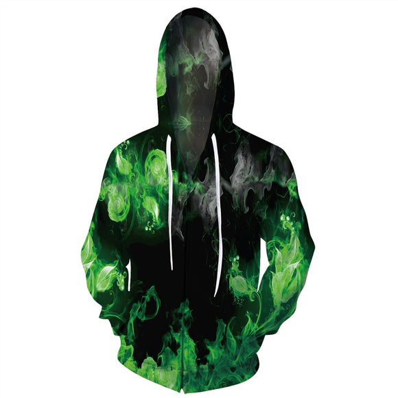 Mens Zip Up Hoodies 3D Printed Green Smoke Printing Pattern Hooded