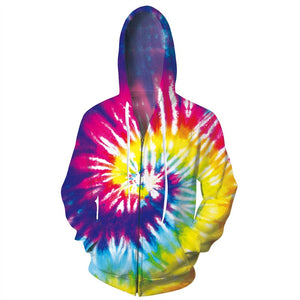 Mens Zip Up Hoodies Tie Die 3D Printing