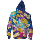Mens Zip Up Hoodies 3D Printed Taco Pizza Cat Printing Hooded
