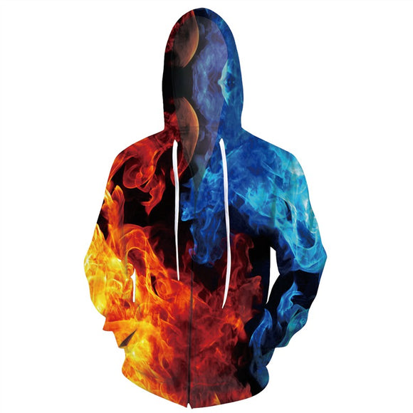 Mens Zip Up Hoodies 3D Printed Big Fire Printing Hooded