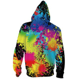 Mens Zip Up Hoodies 3D Printed Tie Dye Printing Hooded