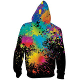 Mens Zip Up Black Hoodies 3D Printed Tie Dye Printing Hooded