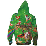 Mens Zip Up Hoodies Dinosaur Cat 3D Printing Hoody