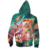 Mens Zip Up Hoodies Pizza Pig 3D Graphic Printing Hoody