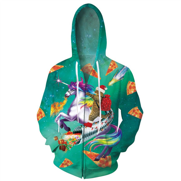 Mens Zip Up Hoodies Cat Riding Horse 3D Graphic Printing Hoody