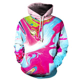 Mens Hoodies 3D Printed Pink Blue Color Printing Hooded