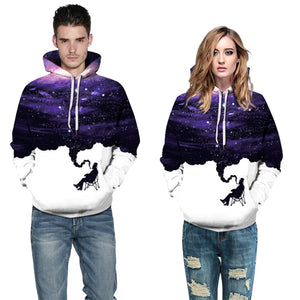 Mens Hoodies 3D Printed Purple Starry Sky Printing Hooded
