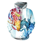Mens Hoodies 3D Printed Deer Head Printing Hooded