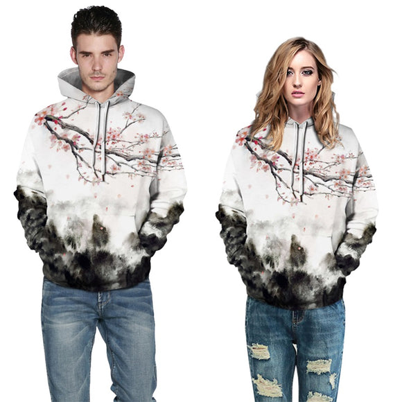 Mens Hoodies 3D Printed Plum Blossom Printing Hooded