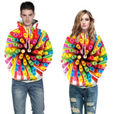 Mens Hoodies 3D Printed Colorful Straw Printing Hooded