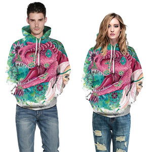 Mens Hoodies 3D Printed the Mouth of Crocodile Printing Hooded
