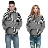 Mens Hoodies 3D Printed Ball with Line Printing Hooded