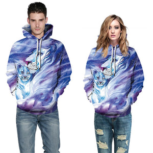 Mens Hoodies 3D Printed Two Tiger Face Printing Hooded