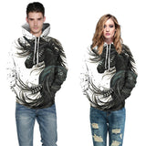 Mens Hoodies 3D Printed Black Horse Printing Hooded