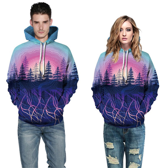 Mens Hoodies 3D Printed Forest Tree Printing Pattern Sweatshirts