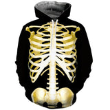 Mens Hoodies 3D Printing Yellow Skull Butterfly Printed Hoodies
