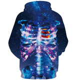 Mens Hoodies 3D Printing Galaxy Skull Printed Winter Hoodies