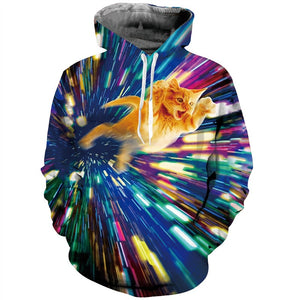 Mens Hoodies 3D Printing Ray Pattern Printed Winter Hoodies