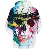 Mens Hoodies 3D Printing Colorful Skull Pattern Printed Winter Hoodies
