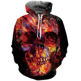 Mens Hoodies 3D Printing Skull Printed Winter Hoodies Tracksuits