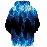 Mens Hoodies 3D Printing Blue Fire Printed Winter Hoodies Tracksuits