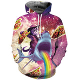 Mens Hoodies 3D Printing Cat Shark Printed Winter Hoodies Tracksuits
