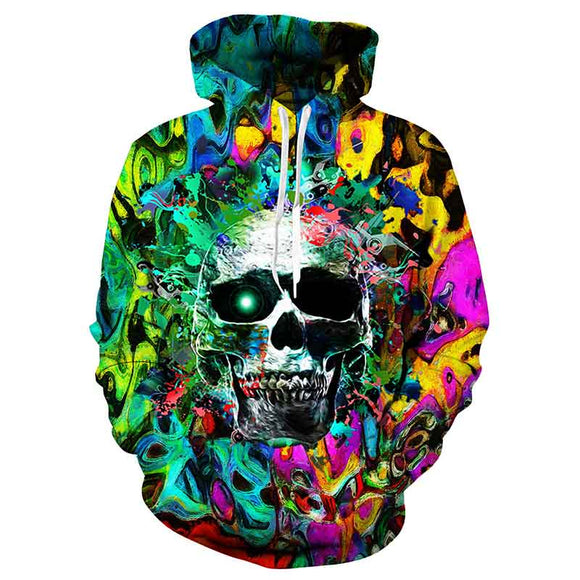 Mens Hoodies 3D Printed Colorful Skull Printing Hoodies