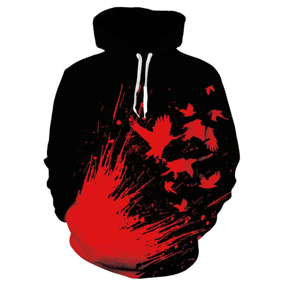 Mens Hoodies 3D Printed Blood Bird Printing Hoodies