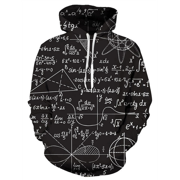 Mens Hoodies 3D Printing Math Printed Winter Hoodies Tracksuits