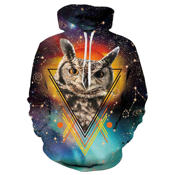 Mens Hoodies 3D Printed Triangle Owl Printing Hoodies