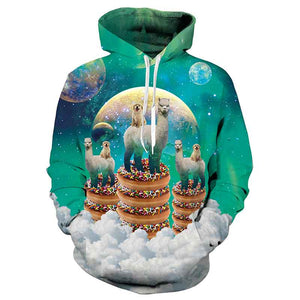 Mens Hoodies 3D Printed Alpaca Pattern Printing Hoodies