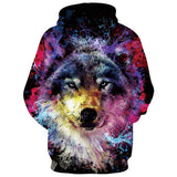 Mens Hoodies 3D Printed Wolf Printing Hoodies