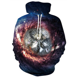 Mens Hoodies 3D Printing Hooded Starry Sky Cat Printed Pattern Sweatshirt Pullover