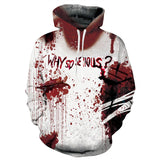 Mens Hoodies 3D Printing Hooded Blood Printed Pattern Sweatshirt Pullover